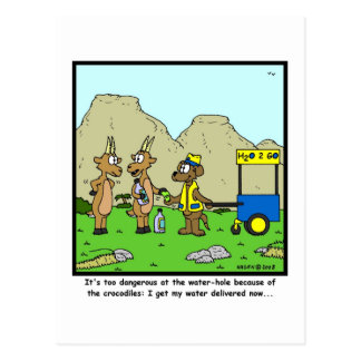 Water Delivery: Antelope Cartoon Postcard