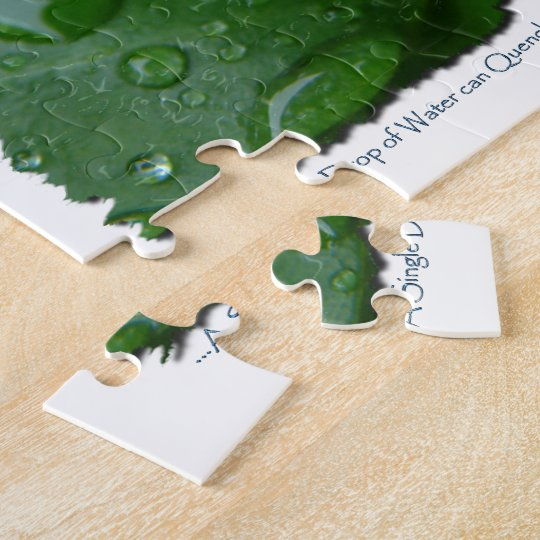 Water Drip on Leaf Water Conservation Design Jigsaw Puzzle