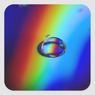 Water Droplet Macro Square Stickers