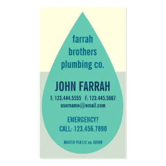 Water Droplet Plumber s Business Card Template
