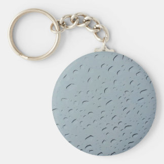 Water droplets basic round button key ring