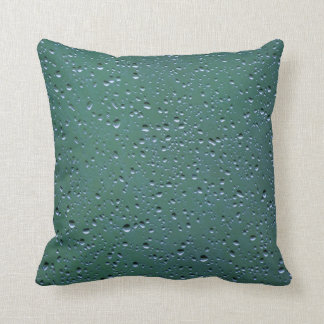 Water Droplets on a Green Background Pillow