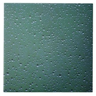 Water Droplets on a Green Background Tile