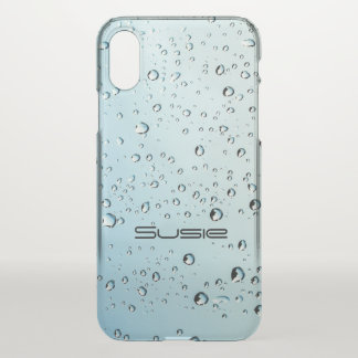 Water Droplets Rain Clear iPhoneX Name Monogram iPhone X Case