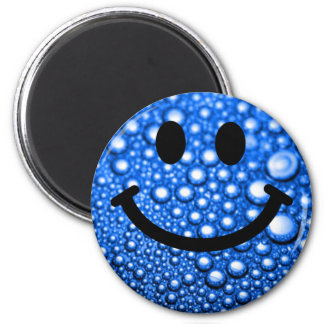 Water droplets smiley 6 cm round magnet