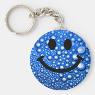 Water droplets smiley basic round button key ring