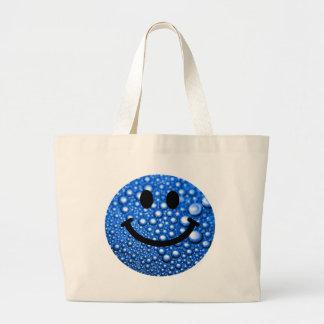 Water droplets smiley jumbo tote bag