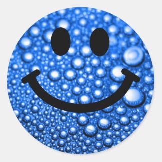 Water droplets smiley round sticker