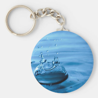 Water Droplets Splash Abstract Background Basic Round Button Key Ring