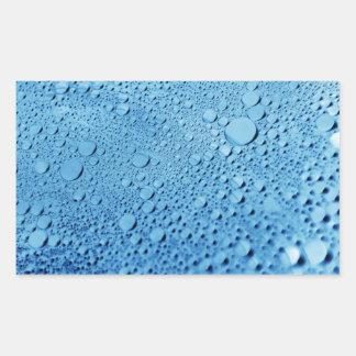 Water drops blue background design rectangular sticker