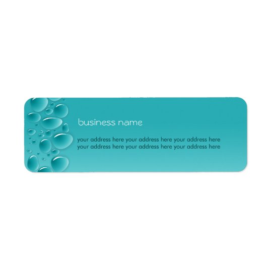 Water Drops Fresh Wet Aqua Return Address Label