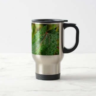 Water Drops on a Green Leaf Coffee Mug