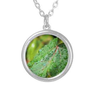 Water Drops on a Green Leaf Necklaces