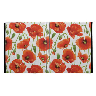 water drops on cute poppies iPad folio cover