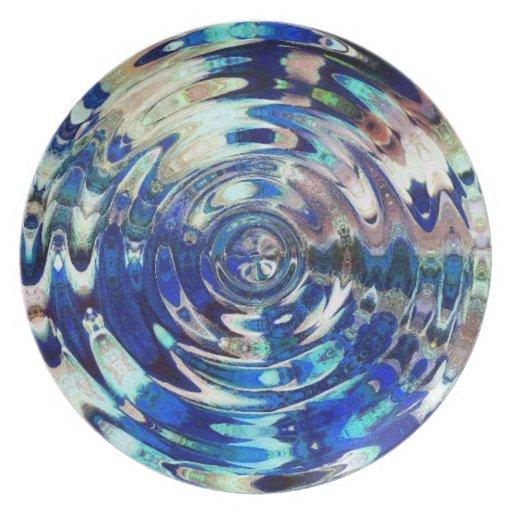 WATER Element Ripple Pattern Dinner Plates