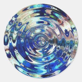 WATER Element Ripple Pattern Round Sticker