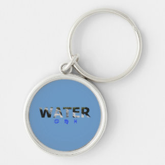 Water Element with Zodiac Signs Silver-Colored Round Key Ring