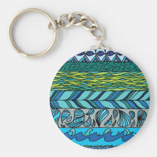 Water Elements Basic Round Button Key Ring