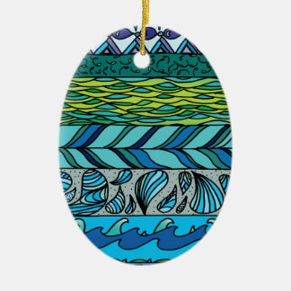 Water Elements Ceramic Oval Decoration