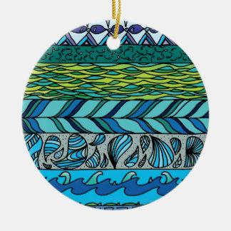 Water Elements Round Ceramic Decoration