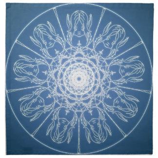 Water Elf Fairy Pentagram Wicca Pagan Spiral Snow Napkin