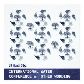 """Water environment energy conference corporate 5.25"""" square invitation card"""