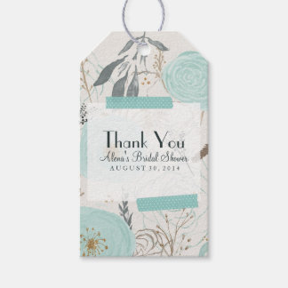 Water Floral Favor Tag, Turquoise Gift Tag, Gift Tags