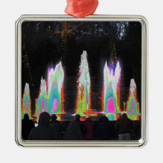 Water Fountain Shows Parks n Gardens New Jersey US Square Metal Christmas Ornament