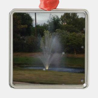 Water Fountain Silver-Colored Square Decoration