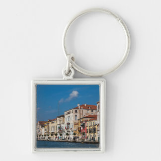 Water Front Along The Grand Canal Of Venice Silver-Colored Square Key Ring