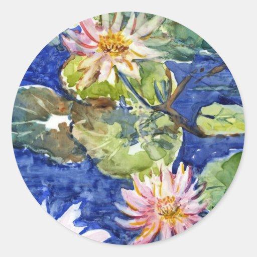 Water Garden in Watercolor Round Stickers