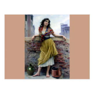 Water Girl Antique Woman painting Postcard