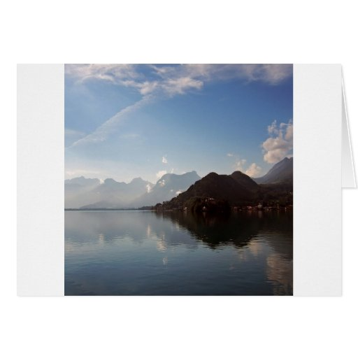 Water Haze Clouds Mountains Card