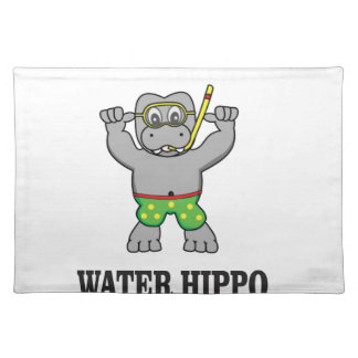 water hippo fun placemat