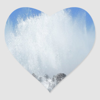 Water hitting rocks on canary islands heart sticker