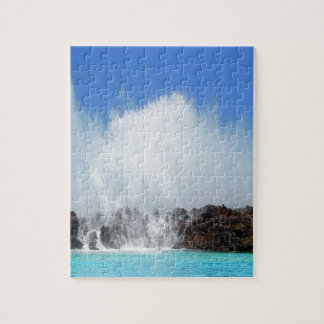 Water hitting rocks on canary islands jigsaw puzzle
