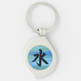 Water Japanese Kanji Symbol Silver-Colored Swirl Key Ring