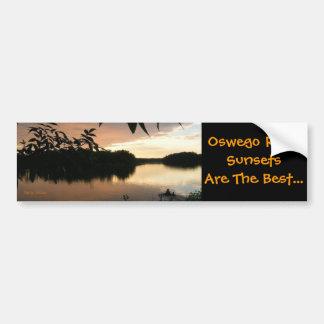 water leaves and fishermen, Oswego River Sunset... Bumper Sticker