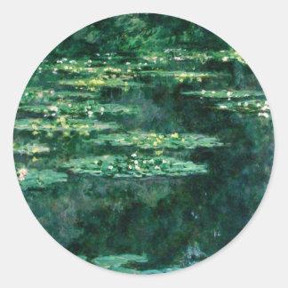 WATER LILIES 2 ROUND STICKER