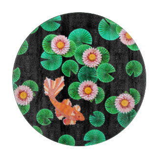 Water Lilies and Koi Fish Glass Cutting Board