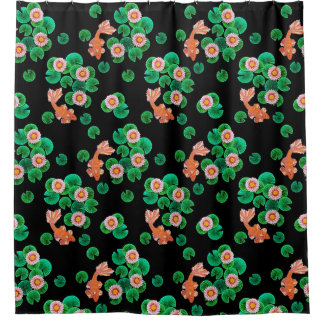Water Lilies and Koi Fish Shower Curtain