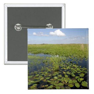 Water lilies and sawgrass in Florida everglades 2 15 Cm Square Badge
