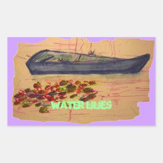 water lilies art rectangular sticker