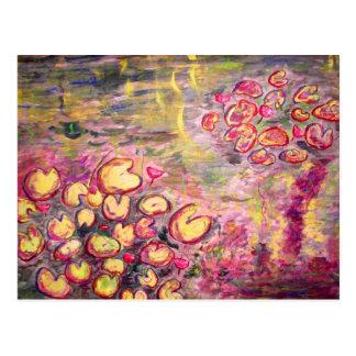 water lilies blooming postcard