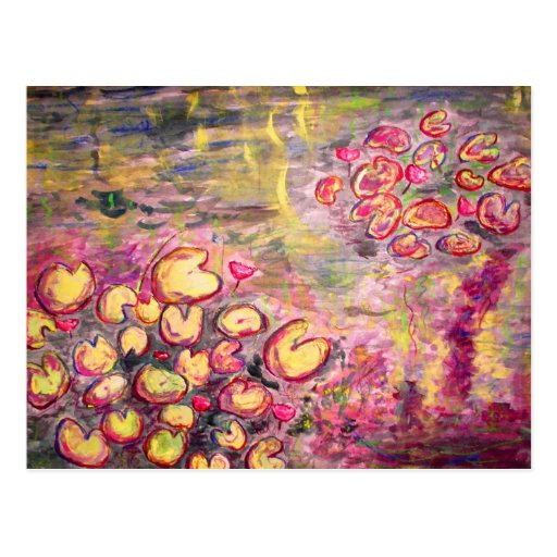water lilies blooming post cards