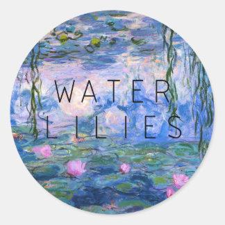 water lilies classic round sticker