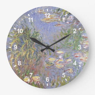 Water-Lilies, Cluster of Grass Large Clock