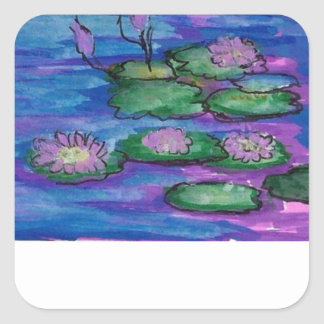 Water Lilies Impressionist Book Kindle Plates Square Stickers