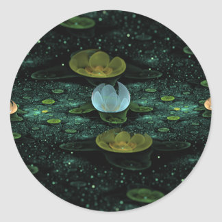 Water Lilies in the Rain Stickers