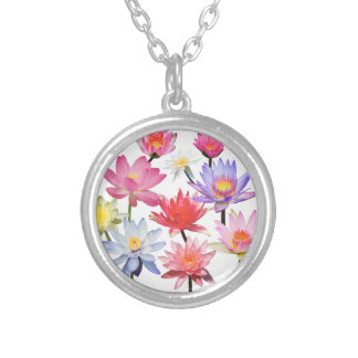 Water Lilies & Lotus Silver Plated Necklace